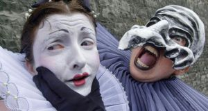 Feeling the pinch: Macnas performers Maighread Ní Chonaigh and Hillary Kavanagh in 2002. Photograph: Alan Betson.