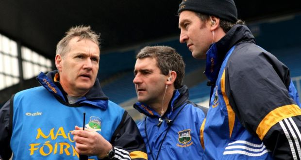 Former Tipperary manager Liam Sheedy (centre) with current boss Eamon O'Shea (left) and selector Michael Ryan in 2009. Photograph: James Crombie/Inpho