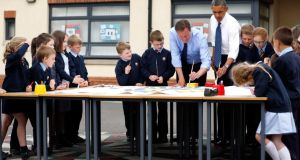 US president Barack Obama and British prime minister David Cameron during a visit to Enniskillen Integrated Primary School when both leaders were attending the G8 summit in the North last year.