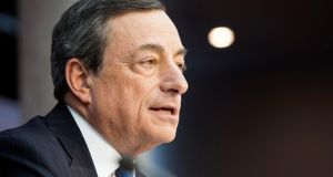 Mario Draghi, president of the European Central Bank, speaks during a news conference where he unveiled historic measures to face down inflation in Frankfurt. Photograph: Martin Leissl/Bloomberg