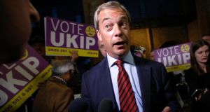 UK Independence Party (UKIP) leader Nigel Farage speaks to the media after the declaration of the Newark by-election at Kelham Hall near Newark. UKIP came second in the byelection but trailed the Conservatives by 7,000 votes. Photograph: Luke MacGregor/Reuters.