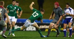 Garry Ringrose looks to avoid traffic Ireland's 37-21 win over in Wales. Photograph: Simon Watts/Getty Images