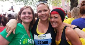 Clair Dale, Emma Morrissey and Natalie Fitzgerald at the Flora women's mini marathon June 2nd, 2014