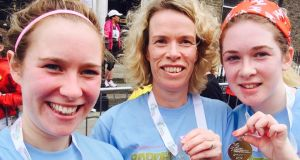 Denise Keating (centre) with her daughters Rachael Keating and Sarah  Keating at the mini marathon June 2nd 2014