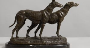 Chiens Lévriers (greyhounds), bronze on marble base, by Emmanuel Frémiet, is estimated at €700-€1,000 at Morgan O'Driscoll's Auction
