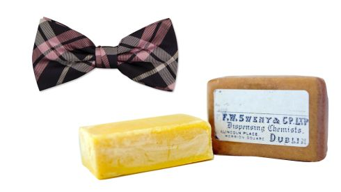 "Ascot Bow Tie in Pink Tartan Check Silk,  €29.95, Louis Copeland ""Ill take one of those soaps."" ""How much are they?"" ""Fourpence sir."" Mr Bloom raised a cake to his nostrils. ""Sweet lemony wax. Ill take one."" Lemony soap,  €5, Swenys pharmacy"