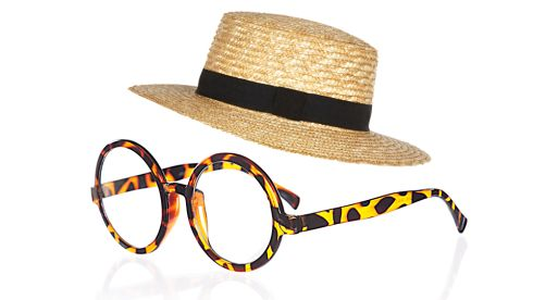 Straw boater hat,  €24, River Island Tortoiseshell Round Glasses,  €23.27, truffleshuffle.co.uk