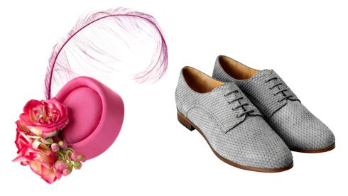 Pink Isobel Hat with Roses,  €350, CarolKennellyMillinery.com Leather shoes,  €39.99, H&M