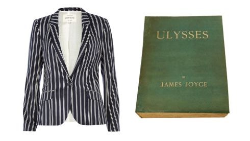 Tailored blazer,  €75, River Island Ulysses, Shakespeare & Co., 1933, First Edition in original wrapper, Numer 911 of 1000 copies,  €30,000, Ulysses Rare Books, Dublin 2