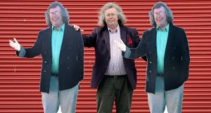 Mattress Mick with two of the cutouts that dot his northside premises. Photograph: Dave Meehan