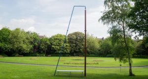 Soaring steel: Understudy by Aleana Egan from the exhibition Vestibule in Merrion Square Park, Dublin. Photograph: Evan Buggle.