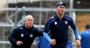Derek McGrath, left,  and selector Dan Shanahan keeping a close eye on the action during the drawn clash with Cork at Semple Stadium, Thurles. Photo: James Crombie/Inpho