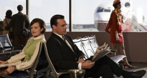 Retro view: Peggy (Elizabeth Moss) and Don (Jon Hamm) in Sky Atlantic's Mad Men made the new era of jet-set business travel look glamorous