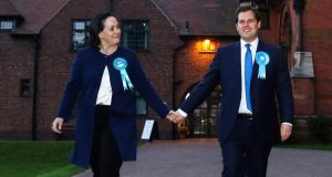 Conservative party candidate Robert Jenrick and wife Michal leave Kelham Hall  in Newark yesterday after winning the Newark byelection. Photograph: Reuters/Luke MacGregor