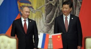 Russia's President Vladimir Putin  and China's President Xi Jinping attended a signing ceremony last month. Russia's state-controlled Gazprom  earlier signed a long-awaited gas supply agreement with China. Photograph: Reuters/Alexei Druzhinin/RIA Novosti/Kremlin