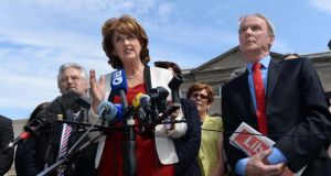 Joan Burton announcing her bid for leadership of the Labour Party. Photograph:  Dara Mac Dónaill / The Irish Times