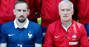 Franck Ribery (left) has enjoyed considerabley better form in the national team under manager Didier Deschamps. Photograph: Reuters