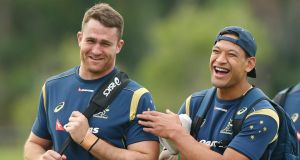 James Horwill and Israel Folau share a joke during an Australian Wallabies training session at Sanctuary Cove on June 3rdin Gold Coast, Australia. Getty Images