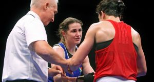 Katie Taylor after beating Bulgaria's Denitsa Eliseeva in the 60kg semi-final of the European Women's Boxing Championships in Bucharest. Photograph: Octavian Cocolos