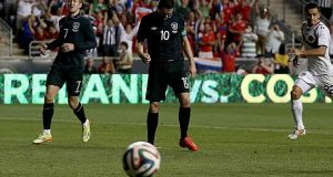 Republic of Ireland's Robbie Keane misses a penalty against Costa Rica. Photograph: INPHO/Donall Farmer