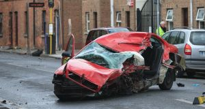 The crashed taxi on James's Street, Dublin this morning. Photograph: Gareth Chaney/Collins