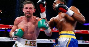 Limerick man  Andy Lee and John Jackson of the Virgin Islands during their NABF Super Welterweight bout in New York. Photograph: Getty Images. Photograph:  Rich Schultz/Getty Images