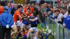 Armagh and Cavan players become involved in a row before the Ulster championship clash at the Athletic Grounds. Photo: William Cherry/Presseye/Inpho