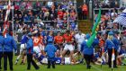 Armagh and Cavan clash before the game. Photograph: Inpho