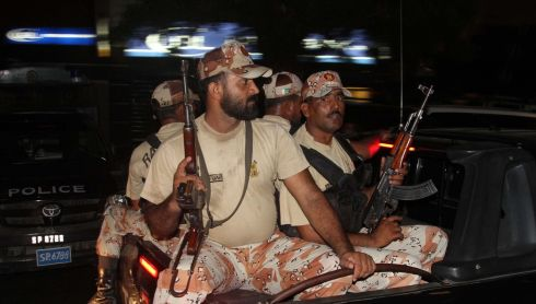 Pakistani Rangers secure the Jinnah International Airport in Karachi, Pakistan.  Photograph: Rehan Khan/EPA
