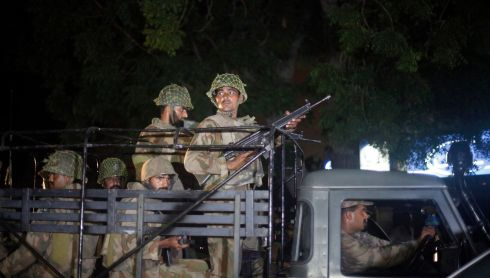 Pakistan Army soldiers arrive at Jinnah International Airport in Karachi. Photograph: Athar Hussain/Reuters
