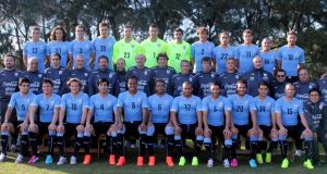 Uruguay's national soccer team pose for the official World Cup squad photo. Photograph: Reuters