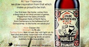 "The Hurler Copper Ale from Four Provinces Brew Co – ""a sessionable bright copper coloured ale"" that pays homage to hurlers everywhere"