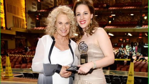 Carole King (L) and Tony award winner Jessie Mueller pose backstage at the 68th Annual Tony Awards. Photograph: Dimitrios Kambouris/ Getty Images