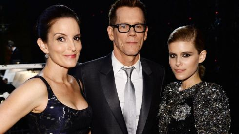 (L-R) Tina Fey, Kevin Bacon and Kate Mara attend the 68th Annual Tony Awards. Photograph: Dimitrios Kambouris/Getty Images