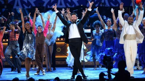 "Actor Hugh Jackman (C) and the cast of ""After Midnight"" perform onstage during the Tony Awards Photograph: Theo Wargo/Getty Images"