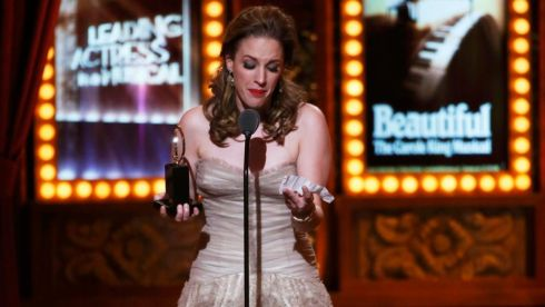 "Jessie Mueller accepts the Award for Best Performance by a Leading Actress in a Musical for ""Beautiful: The Carole King Musical"" Photograph:  REUTERS/Carlo Allegri"