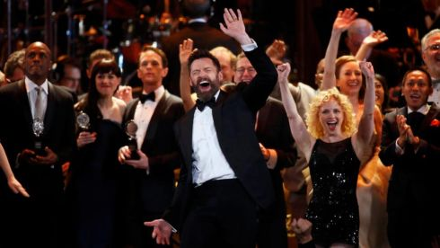 Host Hugh Jackman closes the show along with the winners at the 68th annual Tony Awards. Photograph:  REUTERS/Carlo Allegri