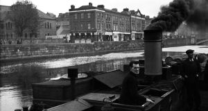 Detail from a photograph of a Guinness barge on the Liffey, 1946. Photographs: Lee Miller Archives, leemiller.co.uk; Roland Penrose Estate, The Penrose Collection
