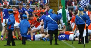 Armagh and Cavan players clash before Sunday's Ulster SF Championship clash at the Athletic Grounds. Photograph: William Cherry/Inpho/Presseye.