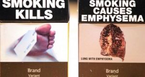 Examples of what the proposed plain cigarette packaging might look like