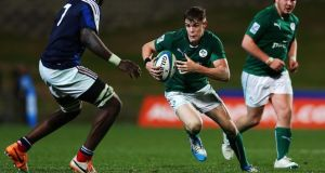 Ireland's Garry Ringrose seen here in action against France produced another brilliant display in the Under-20 Junior World Championship pool match against Fiji today. Photograph: Anthony Au-Yeung/Getty Images