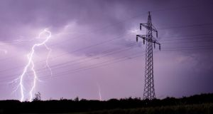 Bolts illuminate the sky  in Sehnde, near Hanover, northern Germany, early today. Photograph: Julian Stratenschulte/EPA