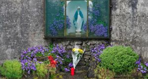 A shrine set up at the site of what is believed to be the location of a mass grave of up to 800 children in the grounds of the former Mother and Baby home in Tuam, Co Galwy. Photograph: EPA