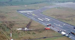 An aerial view of the site of the fatal crash at Cork Airport. Photograph: Air Accident Investigation Unit Ireland