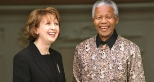 President of South Africa Dr Nelson Mandela with the President Mrs McAleese at Aras An Uachtarain