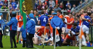 Armagh and Cavan players clash during the pre-match parade before their Ulster SFC quarter-final  at the  Athletic Grounds. Photograph: William Cherry/Inpho/Presseye