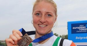 Sanita Puspure of Ireland poses with the bronze medal after the Women's Single Sculls final at the  European Rowing Championships  in Belgrade, Serbia. Photograph: Srdjan Stevanovic/Getty Images)