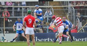 Waterford's Austin Gleeson, goalkeeper Stephen O'Keeffe and Shane O'Sullivan get ready to meet Cork goalkeeper Anthony Nash's penalty in Sunday's Munster SHC replay in Thurles. Photograph: Cathal Noonan/Inpho