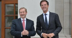 Taoiseach Enda Kenny and Dutch prime minister  Mark Rutte at Government Buildings yesterday. Photograph: Alan Betson