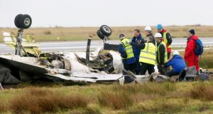 Inquest: investigators at the scene of the Manx2 air crash, at Cork Airport. Photograph: Daragh Mc Sweeney/Provision